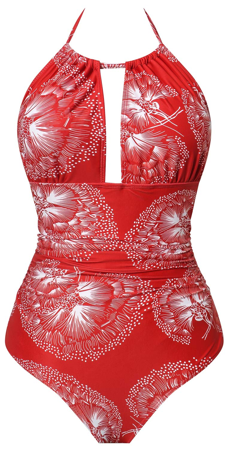 I2CRAZY Womens Bathing Suits Retro One Piece Ruched Swimsuit Backless High Waisted Swimwear - S,Flower-05