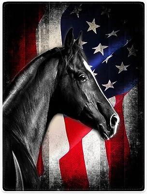 "Throw Blankets Fleece Blanket for Sofa Bed Black Horse Retro American Flag Knight 60"" x 80"""
