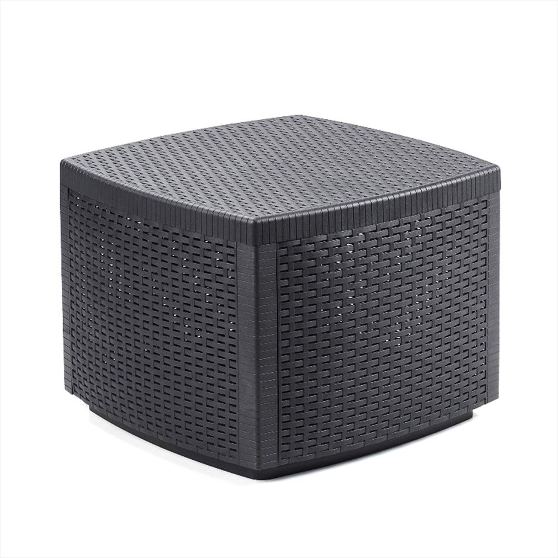 Mojawo, Tavolino in plastica Rattan – con scomparto – Tavolo da giardino – Mobile da balcone in plastica – 53 x 53 x 40 cm