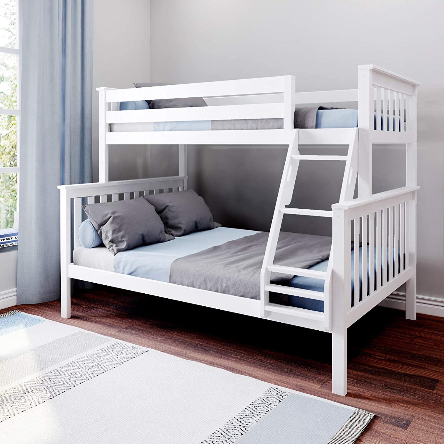 Amazon Com Max Lily Bunk Bed Twin Full White Furniture Decor