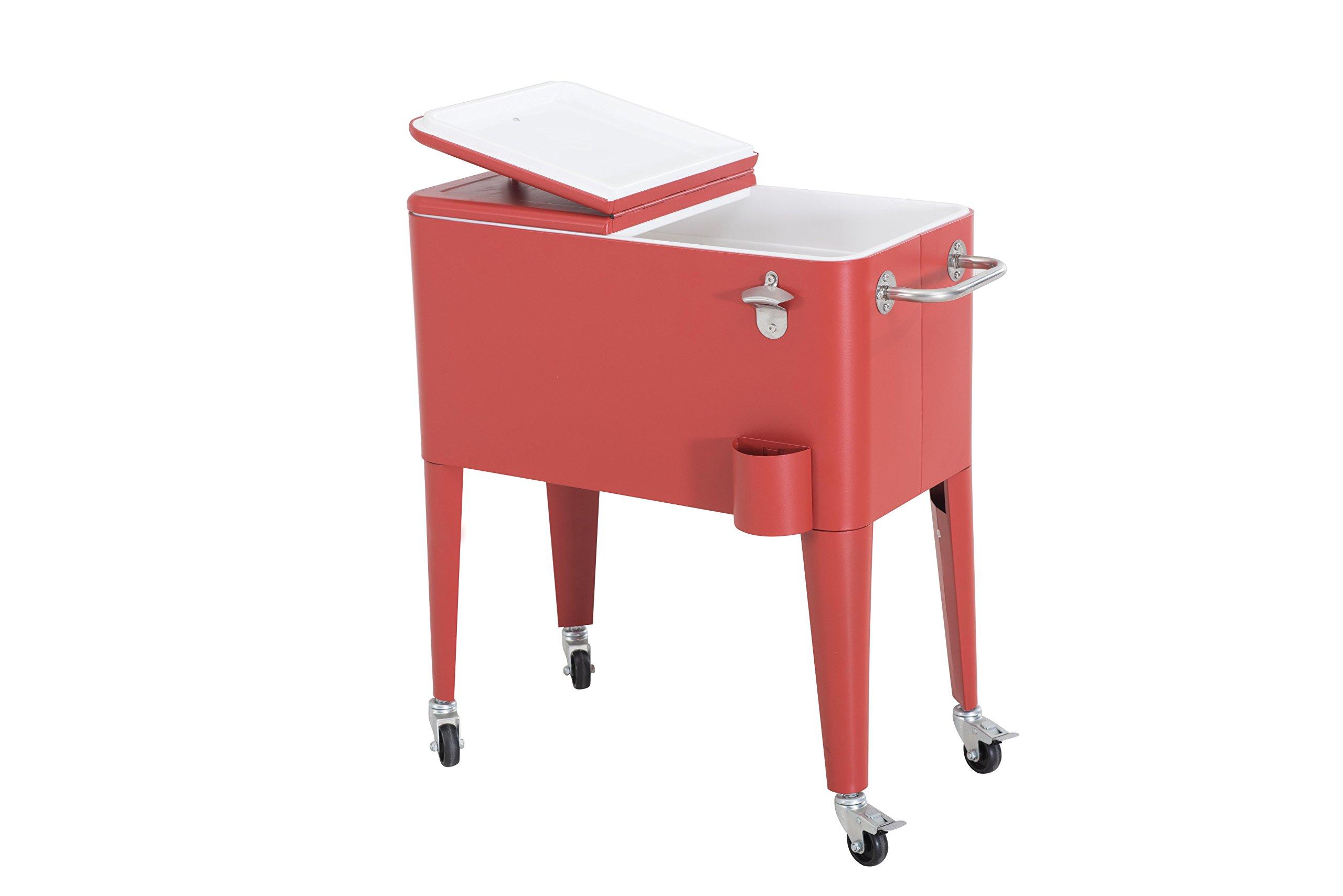 Sunjoy L-BC153PST 60 quart Wheeled Beverage Cooler in Red by sunjoy (Image #2)