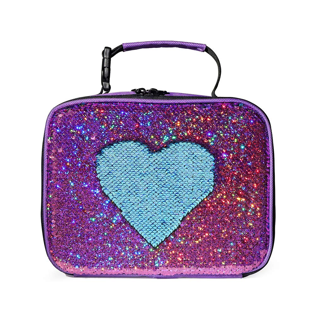 Flippy Sequin Insulated Kid Girls Lunch Box Thermal Lunch Tote Bag, Fashion Lightweight Durable Square Pinkl/Blue Lunch Boxes for School (Pink Rose/Light Blue)