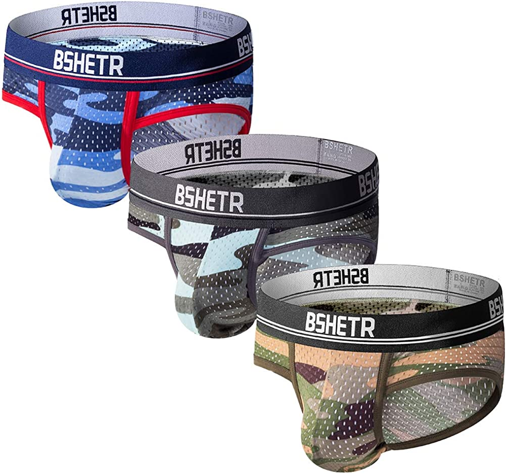 Men's Underwear Briefs 3-Pack Camouflage Mesh Breathable Low Rise Multi Color Soft Underpant
