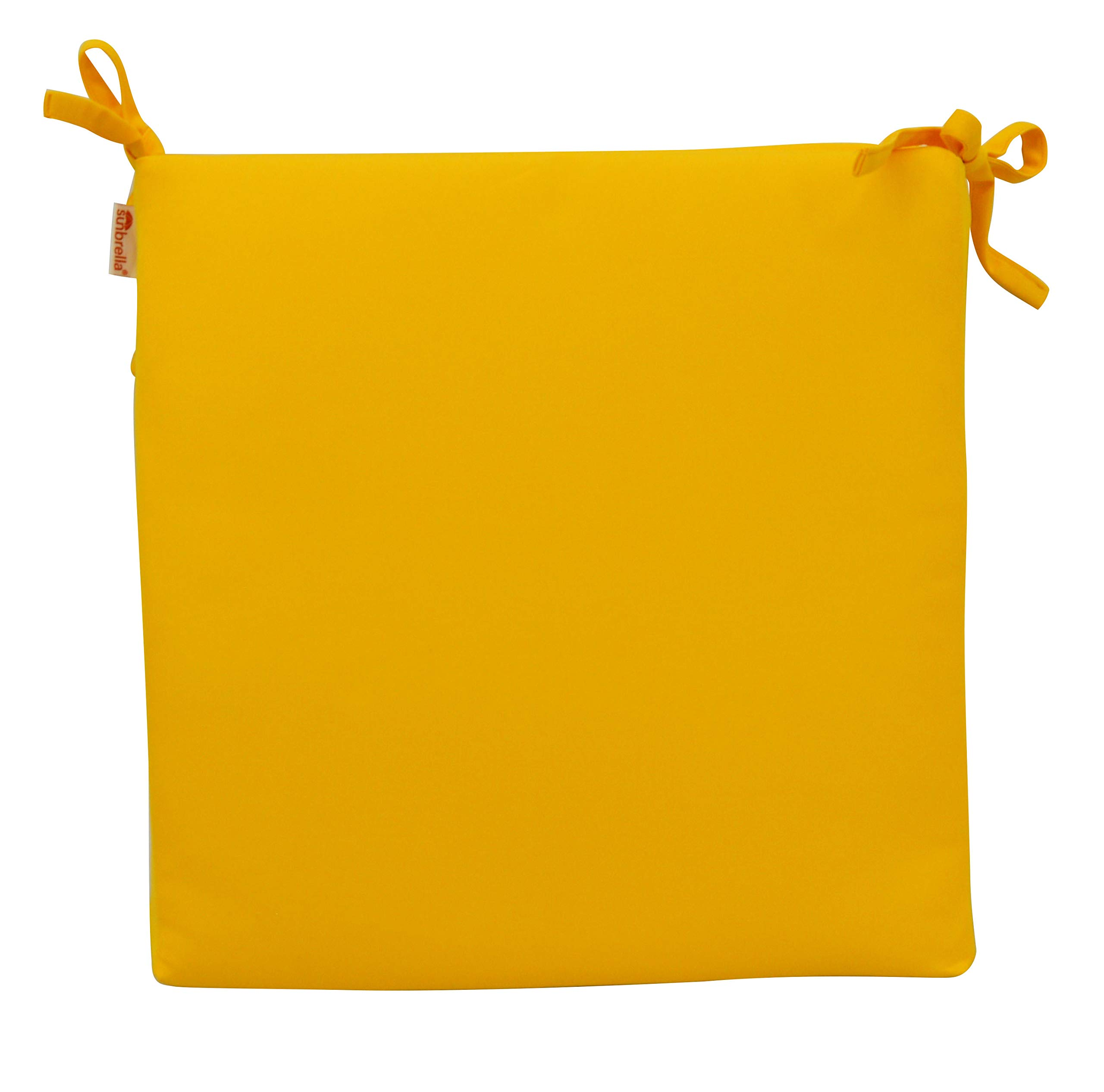 """RSH Décor Indoor/Outdoor Sunbrella Canvas Sunflower Yellow 2'' Foam Seat Cushion with Ties for Dining/Patio Chairs - Choose Size (19"""" x 18"""")"""