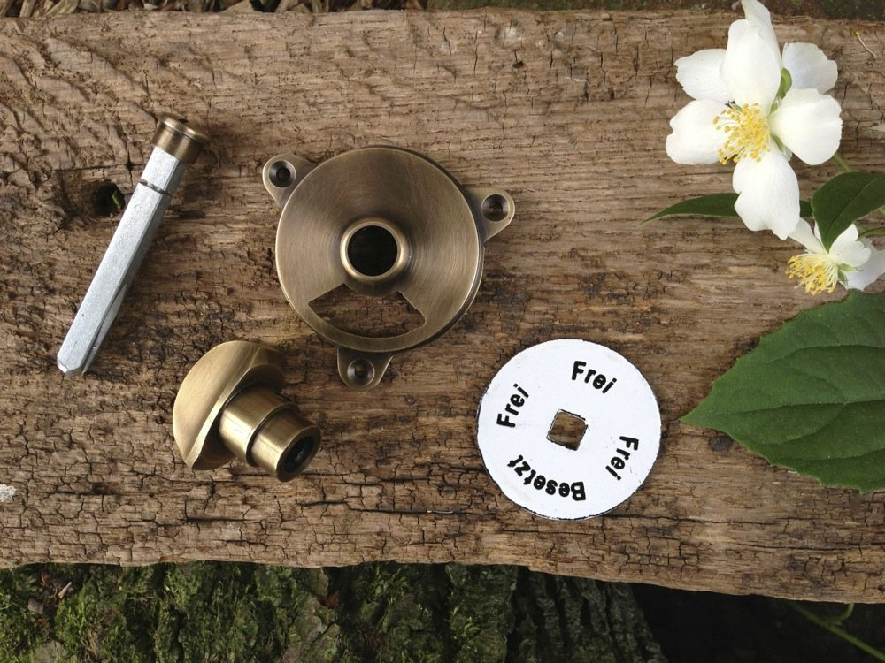 WC T/ür Drehverschluss besetzt+frei Antikas Verschliesser Toilette mit Emaille+Messing
