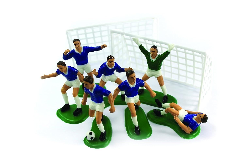 BLUE FOOTBALLERS CAKE DECORATIONS SET: Amazon.es: Bricolaje ...