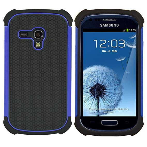 reputable site c425f 80d9a kwmobile Full Armor Case for Samsung Galaxy S3 Mini i8190 - Heavy Duty  Shockproof Protective Hybrid Case Cover - Blue/Black