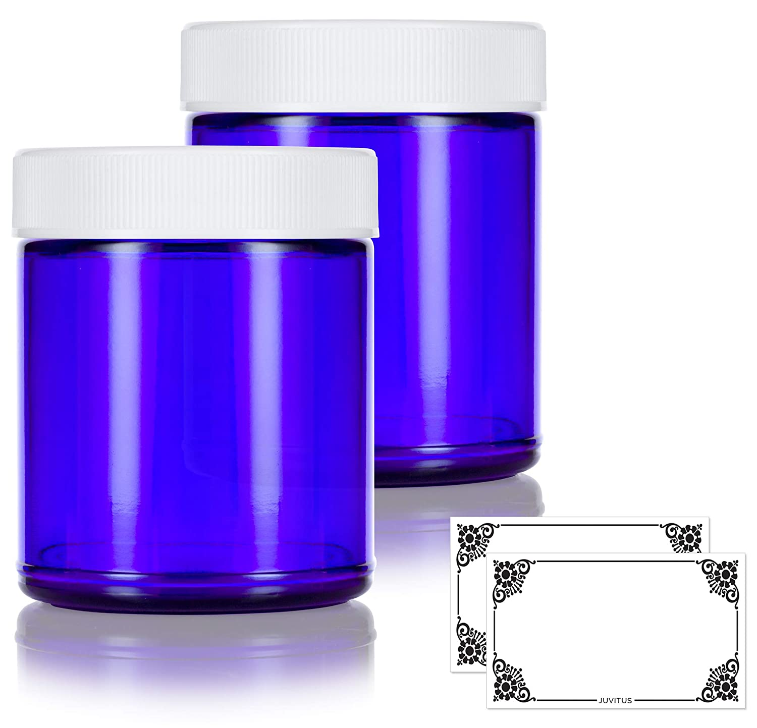 Cobalt Blue Glass Large Straight Sided Jar – 9 oz 270 ml 2 Pack Label – Airtight, Smell Proof, BPA Free Lids