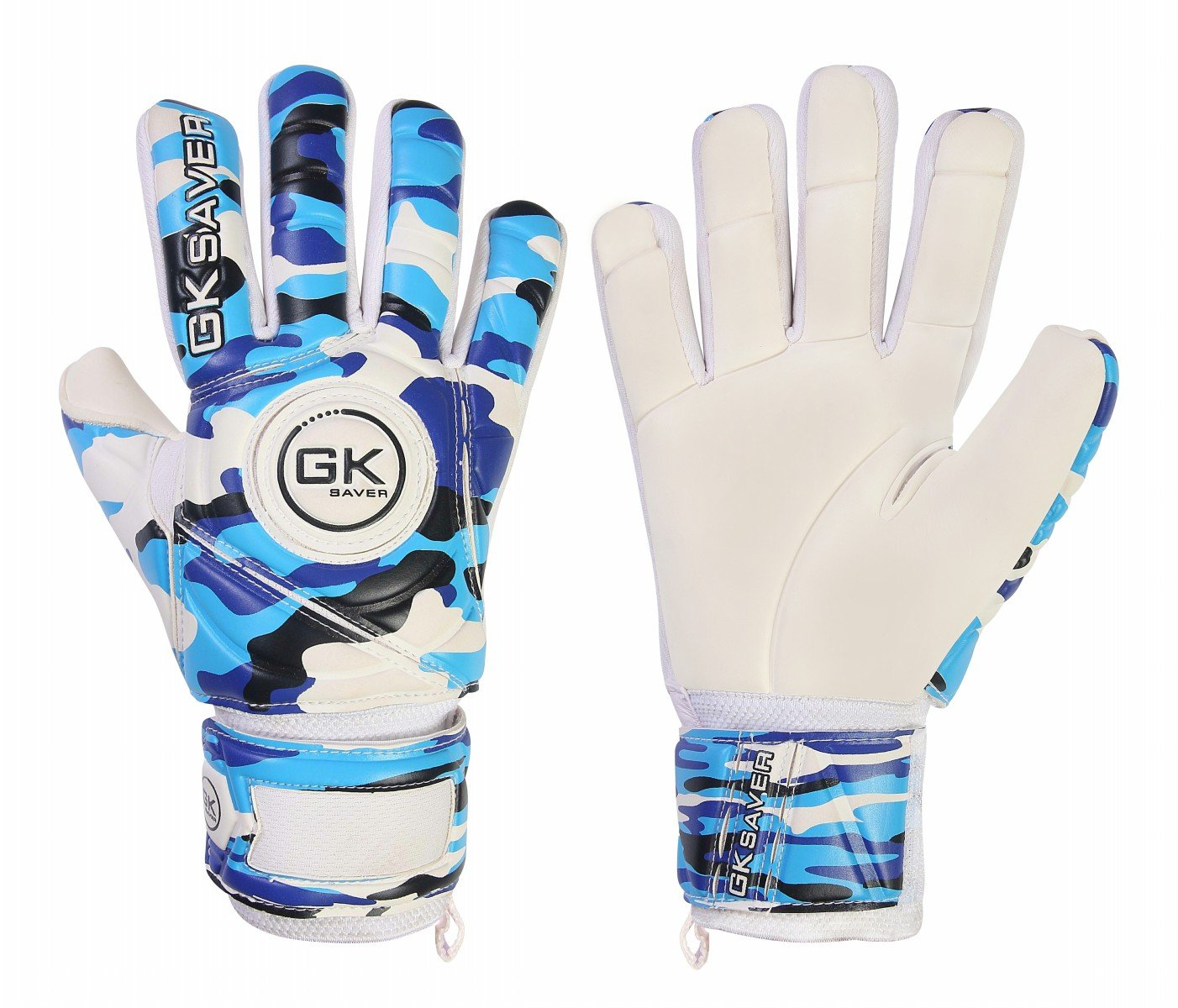 GKセーバーサッカーゴールキーパーGoalie Camoブルー負カットGoalie Gloves Kids FS B07C9W7CJLYES Finger Protection YES Personalization Size 4