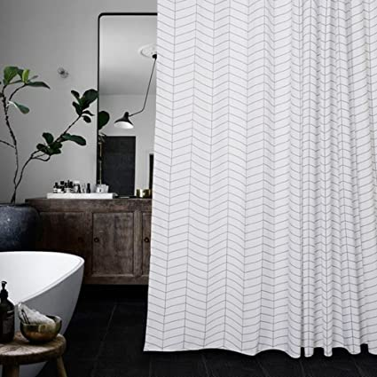 Amazon.com: Aimjerry Water-Repellent Striped Fabric Shower Curtain ...