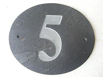 FastCraft Número 5 Oval Natural Gris Pizarra casa Puerta ...