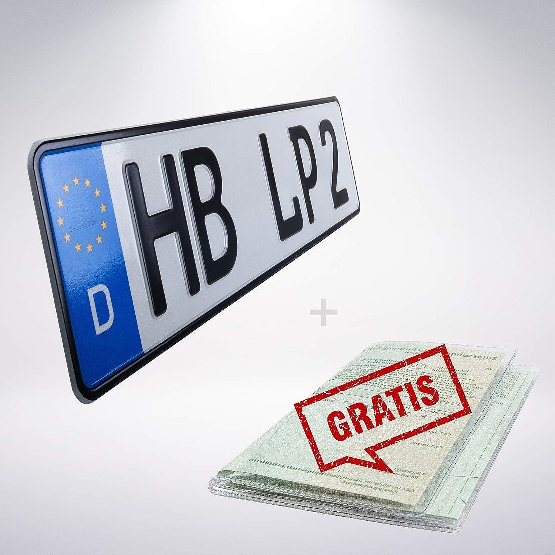 1 St/ück 460mm x 110mm 1 St/ück KFZ Kennzeichen Nummernschild Wunschkennzeichen DIN zertifiziert Autokennzeichen auch f/ür Fahrradtr/äger Anh/änger LKW Wunschpr/ägung amtliches Kennzeichen Autoschild