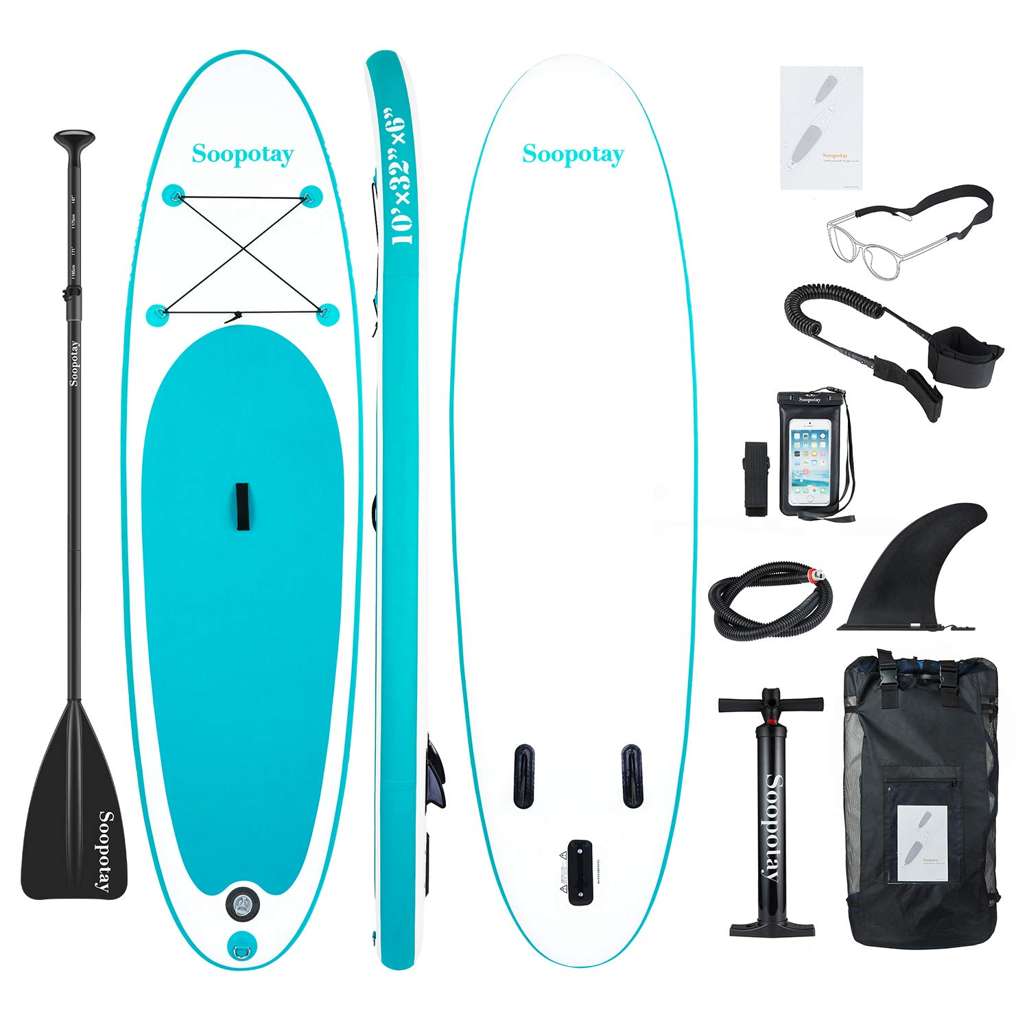 Inflatable SUP Stand Up Paddle Board, Inflatable SUP Board, iSUP Package with All Accessories (All round primary-Turquoise Green-10' x 32'' x 6'')