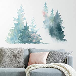 RoomMates Watercolor Pine Tree Peel and Stick Giant Wall Decals