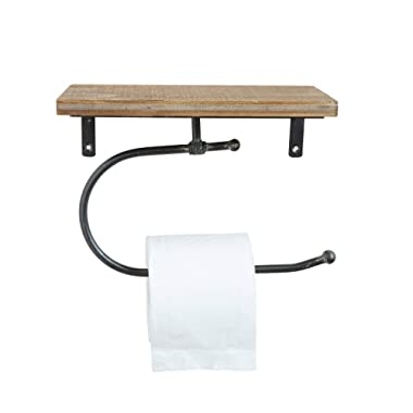 Creative Co-Op DA7857 Metal Wall Toilet Paper Holder with Wood Shelf