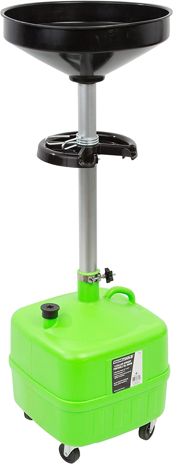 OEMTOOLS 87032 9 Gallon Portable Upright Lift Drain | Auto Mechanic Tool for Changing & Recycling Oil | Adjustable Height & Built-in Tool Tray | Connect a Pump to the Drain Valve for Easy Oil Removal
