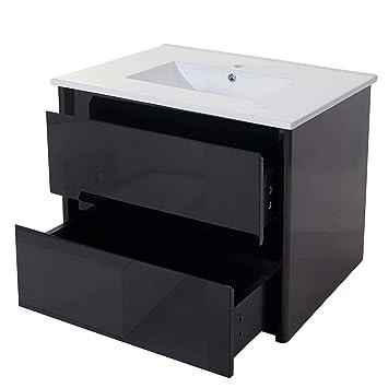 Mendler Waschbecken + Unterschrank HWC B19, Waschbecken Waschtisch  Badezimmer, Hochglanz 50x80cm ~ Schwarz