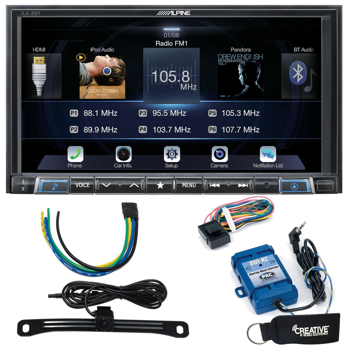 Alpine iLX-207 Compatible with Car Play & Android Auto with Rear View Camera, Steering Interface & Trigger Module