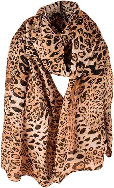 Lenfesh Bufandas leopardo de Mujeres Pañuelos Fular Estampado ...