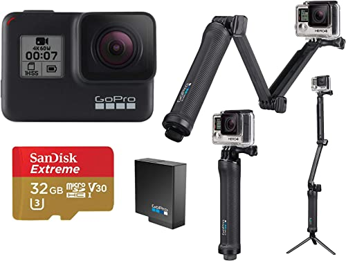 GoPro HERO7 Black – Bundle with 3-in-1 Mount, Extra Rechargeable Battery, and 32GB Card