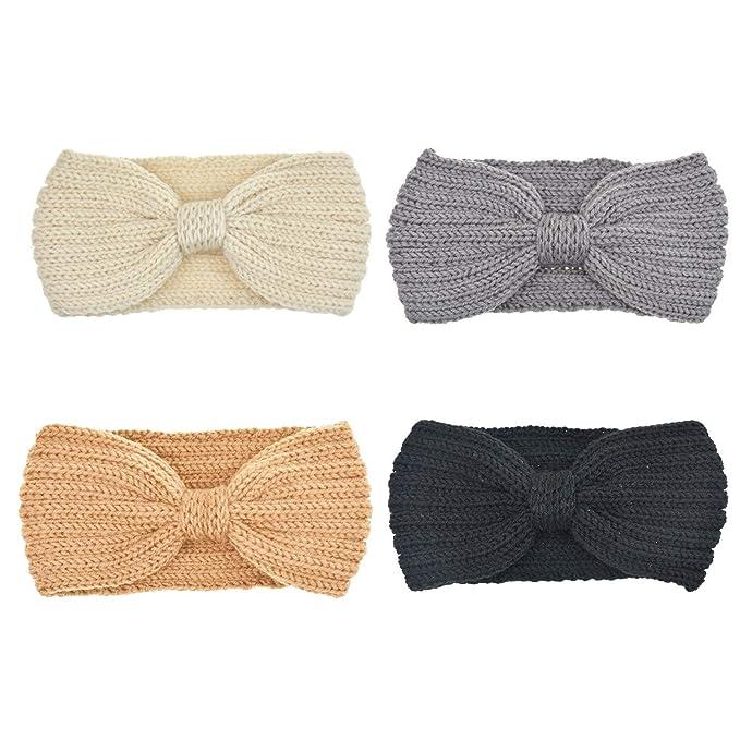 DRESHOW 4 Stück Damen Schleife Design Stirnband Winter Kopfband ...