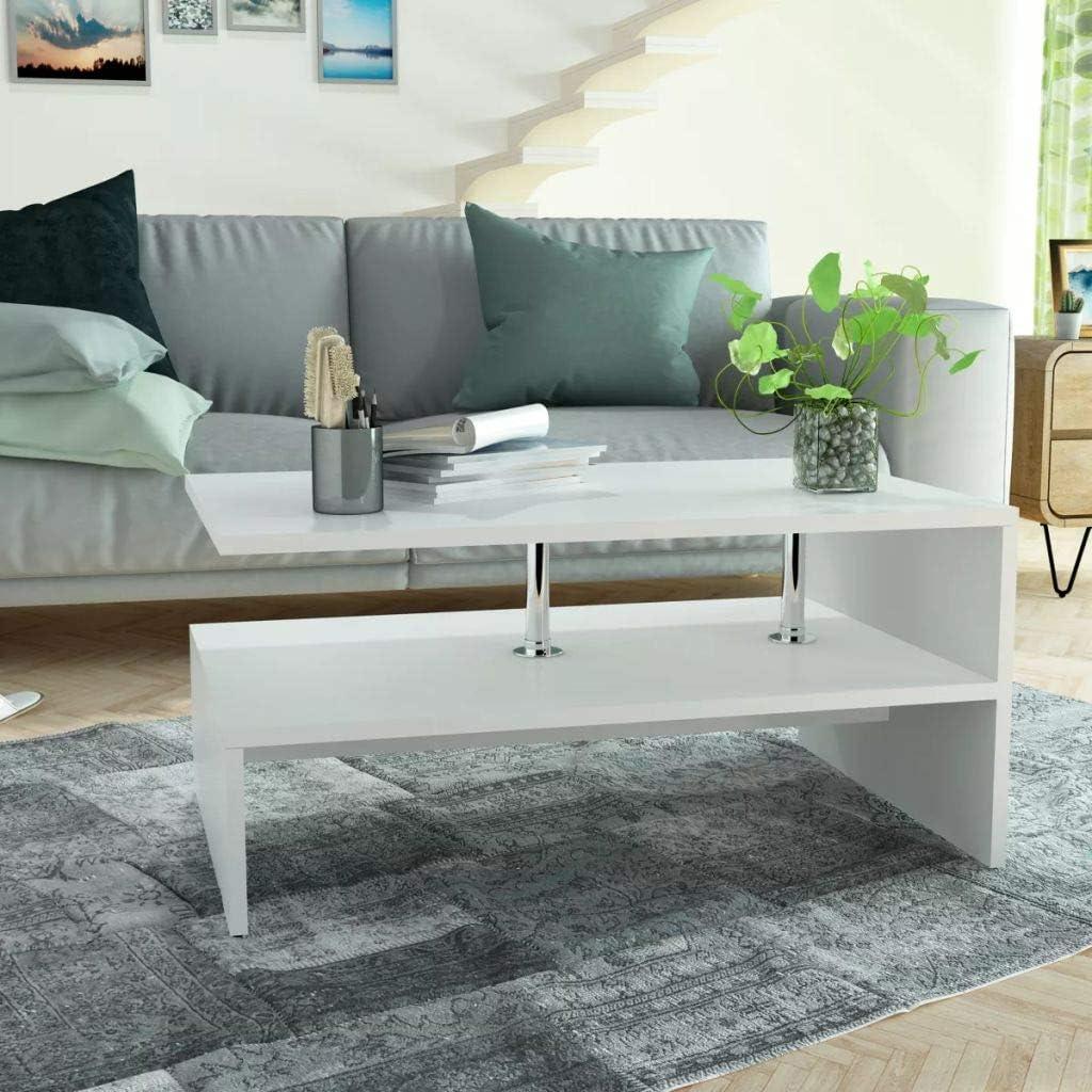 2020 Cool Festnight- salontafel bijzettafel met legplank koffietafel woonkamertafel hout 90 x 59 x 42 cm mat wit/eikenkleur mat wit xO9WRD2