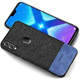 Huawei Honor 8X Case - Fortify Soft Fabric Full Protective Back Cover for Honor 8X (Leather Fabric Series, Black Blue)