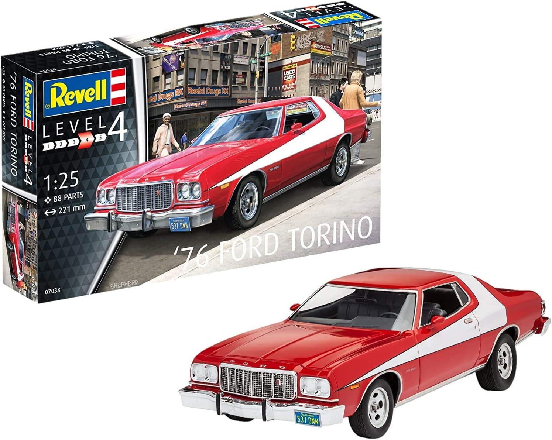 Revell Revell-1976 Maqueta 1976 Ford Torino, Kit Modelo, Escala 1:25 (7038)(07038), Color Rojo, 22,1 cm de Largo