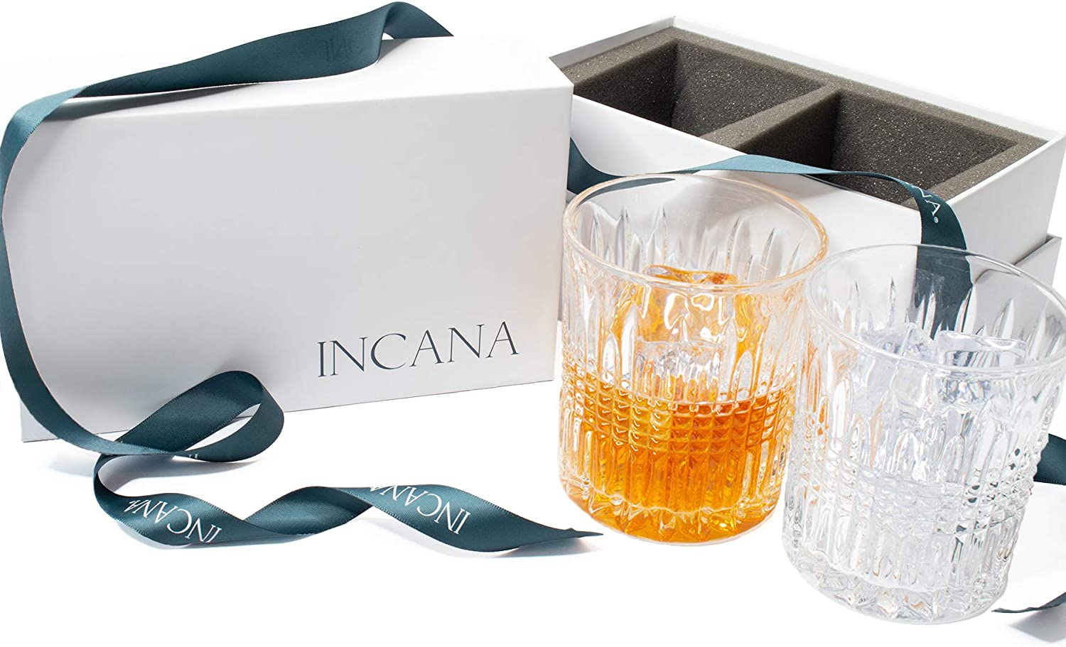 INCANA Whisky Glasses, Art Deco Gatsby Collection | Premium Quality Set of 2 Old Fashion Cocktail, Tumbler Glasses, Stunning Lead Free Ultra-Clarity Crystal Clear Glass | stylish Gift Box with Ribbon