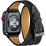 Bestig Band Compatible for Apple Watch 38mm 40mm, Genuine Leather Double Tour Designed Slim Replacement iwatch Strap for iWat