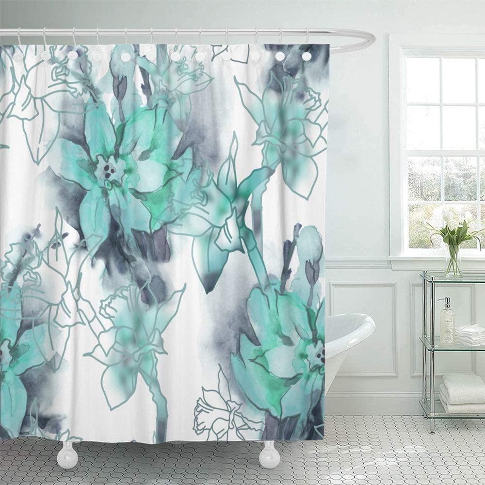 """Emvency 72""""x72"""" Shower Curtain Waterproof Home Decor Teal Floral with Spring Flowers Watercolor Gray Grey Abstract Beautiful Bouquet Picture Print Polyester Fabric Adjustable Hook Set"""