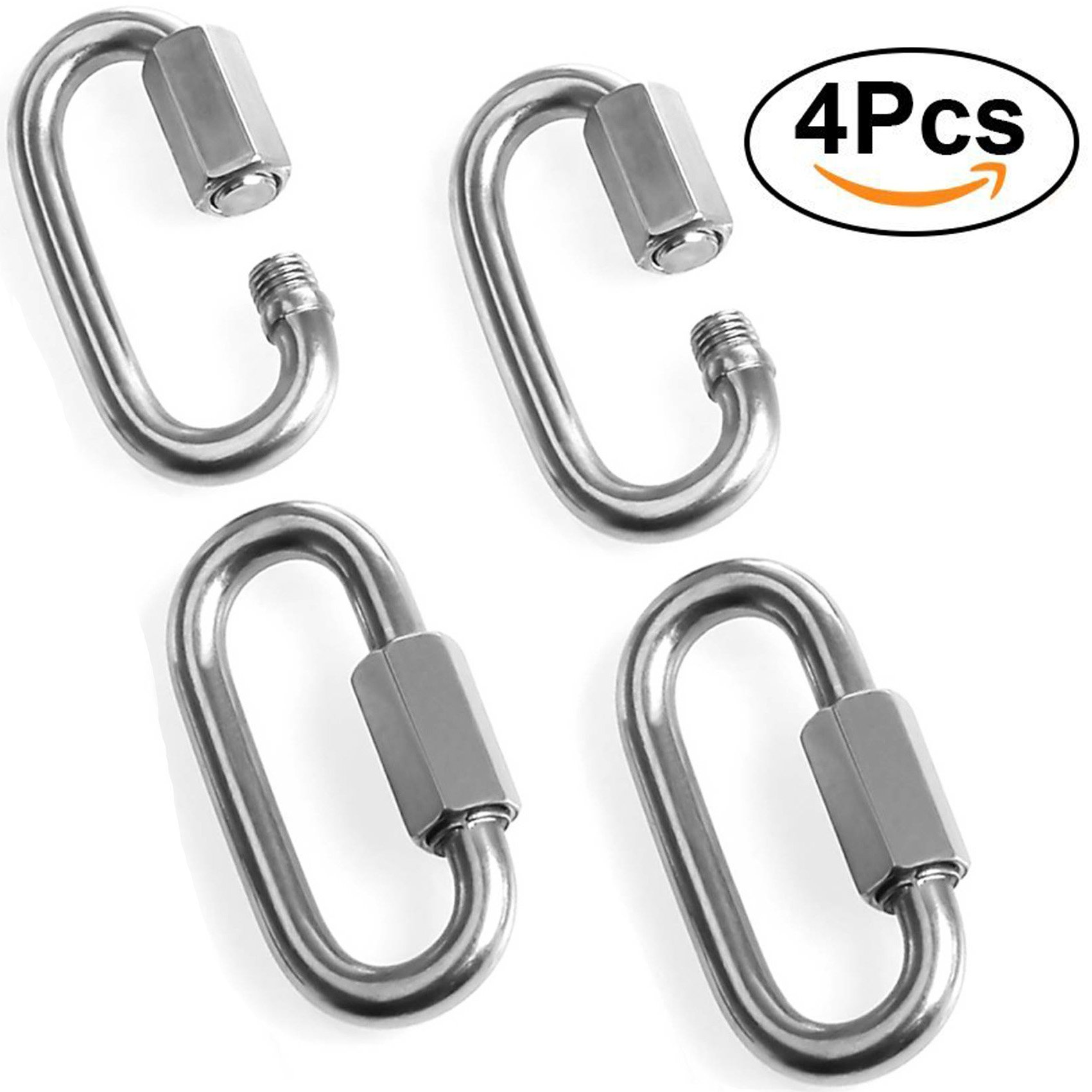 Acrux7 Heavy Duty Locking Carabiner Clip for Rock Climbing/4 Pack Stainless Steel Carabiners, Hexagon Stud Connector & Deep Thread for Heavy Duty Climbing Hook, Strongly Stamping