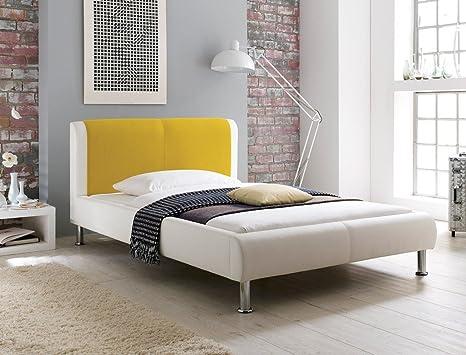 Letto Ecopelle Giallo : Expendio letto imbottito falo 180 x 200 colore: bianco crema giallo
