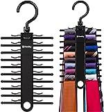 Tenby Living 2-Pack Black Tie Rack, Organizer, Hanger, Holder - Affordable