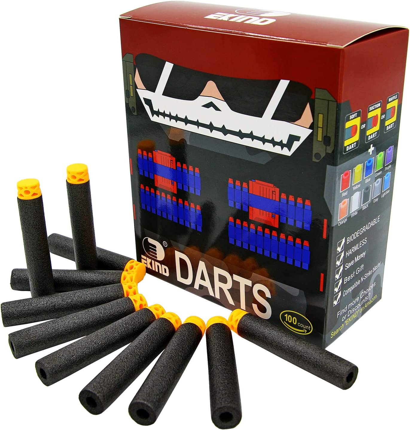 100 X Black Refill Foam Bullet Darts N-Strike Type New And Sealed