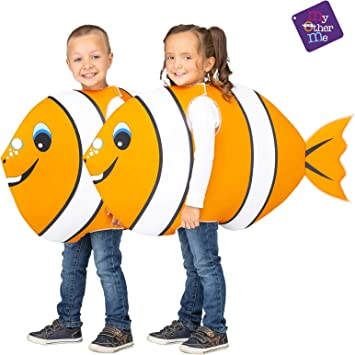 My Other Me Disfraz de Pez Payaso Naranja y Blanco para niños ...