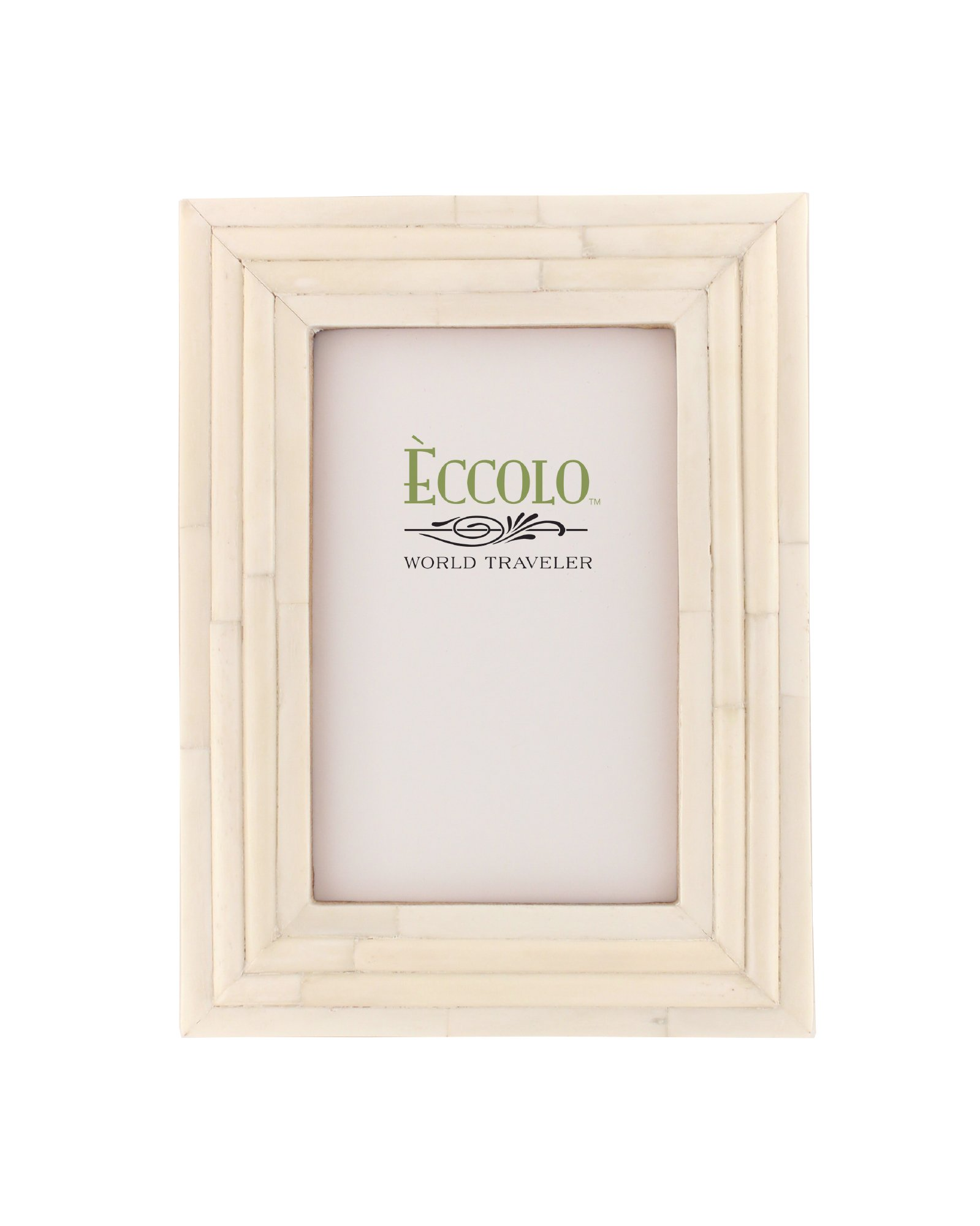 Eccolo World Traveler Naturals Collection Bangalore Raised Interior Frame, Holds 5 by 7-Inch Photo, Ivory