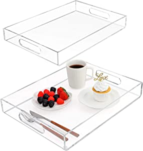 MaxGear Acrylic Serving Trays, Disposable Plastic Party Serving Tray for Food Eating, Tea Breakfast Trays for Bed Serving Tray for Coffee Table, Clear Vanity Organizers and Storage, Set of 2