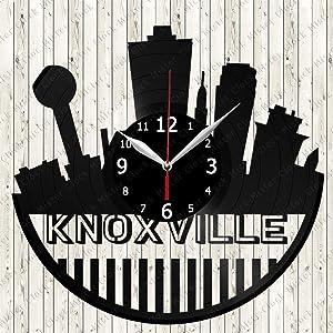 Vinyl Clock Knoxville Skyline Vinyl Record Wall Clock Decor Handmade Unique Design Original Gift