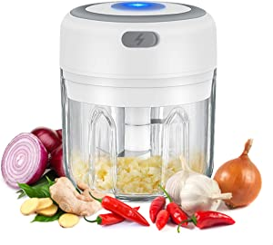 Electric Food Chopper, Mini Garlic Presses, Portable Ginger Processor, Rechargeable Meat Blender, Kitchen Gadget 2021 (250 ML + Plastic Cup)