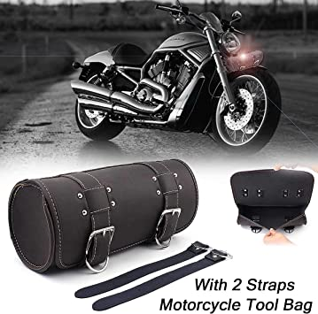 Universal Motorcycle Tank Bag PU Black Sport Touring Saddle Bag Storage Tool Pouch Roll Barrel Bag For Harley Davidson