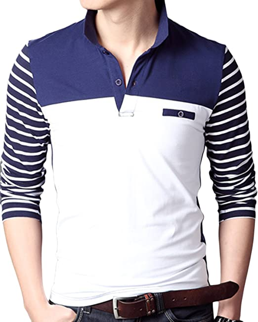 0e7997ec2 sandbank Men's Casual Polo Shirt Striped Long Sleeve Color Block T Shirts  Tee(US XS