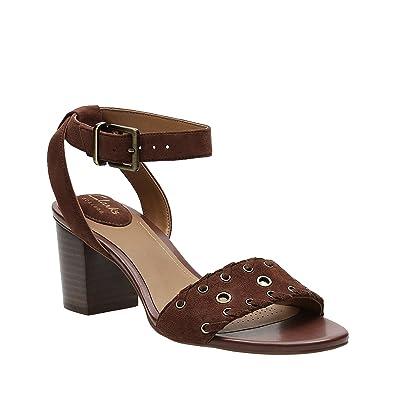 5fca4b0e4080b3 CLARKS Ralene Sheen Womens Heeled Sandals Dark Tan Suede 6
