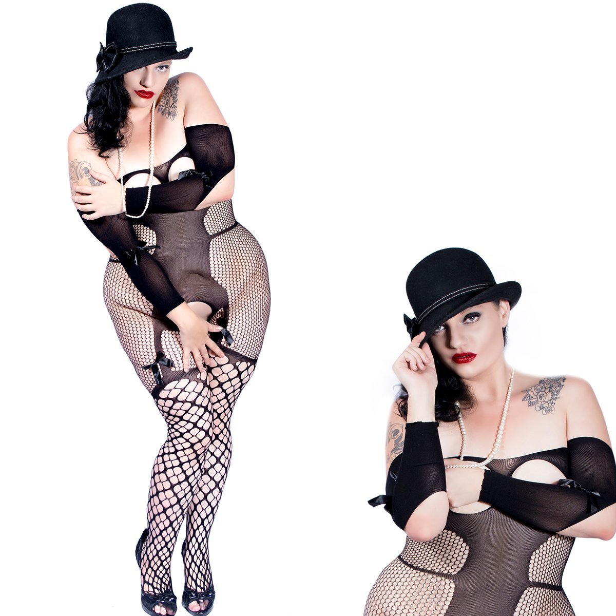 8c422129868 Black Bold alluring open cup cupless crotchless bodystocking with satin  bows. Made of quality fabric 88%Nylon+12%Spandex Queen Plus Size Lingerie  (175lbs ...