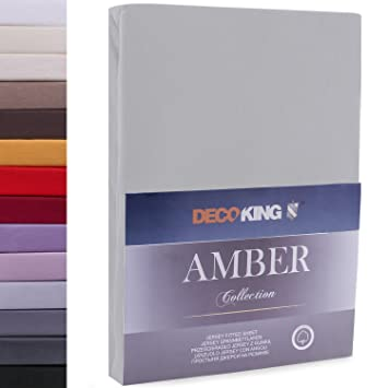 DecoKing Drap Housse en 100% Coton Peigné Jersey, Amber Collection