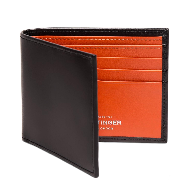 ETTINGER / エッティンガー レザービルフォールド ウォレット 二つ折り財布 - ブラック/オレンジ(内側) B00EHIJYTO