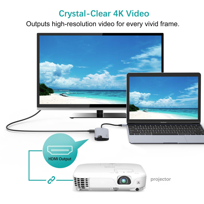 Hub usb c para Macbook Pro, QacQoc GN30H usb c hub de aluminio de múltiples puertos tipo-c con 4K HDMI (30Hz), Gigabit Ethernet, lector de tarjetas SD ...