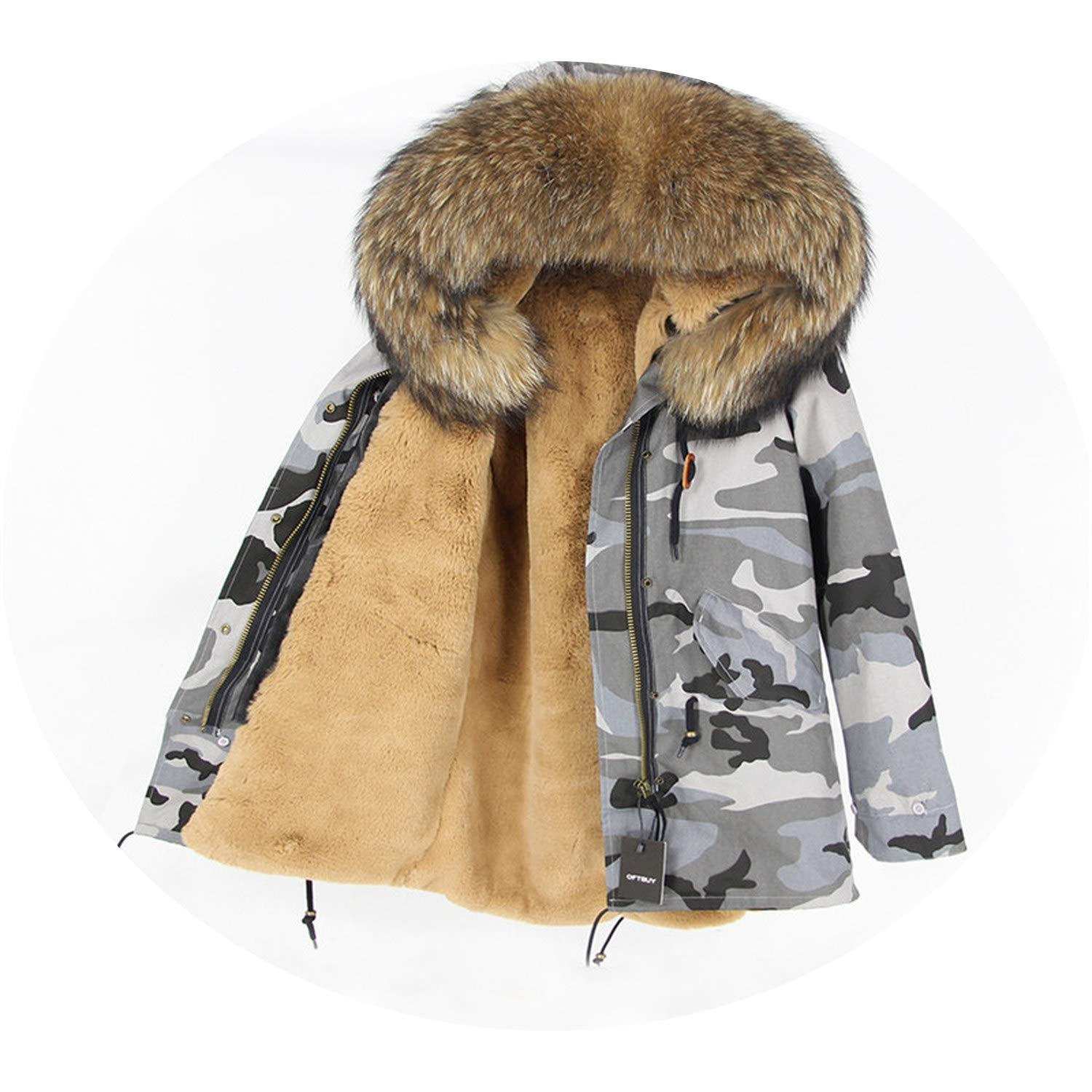2 EnjoySexy Parka Winter Jacket Coat Women Natural Raccoon Fur Collar Hooded Warm Soft Faux Fur Liner