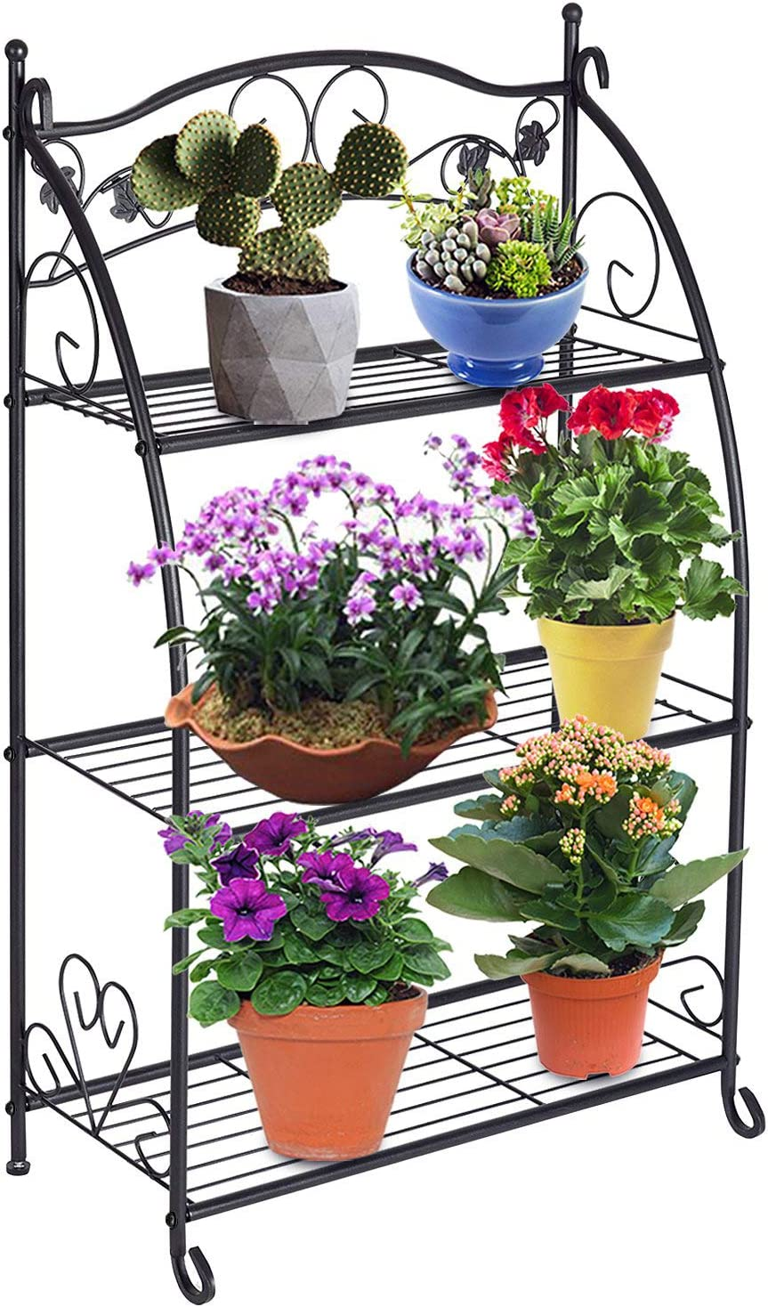 DOEWORKS 3 Tier Metal Plant Stand Storage Rack Shelf Pot Holder for Indoor Outdoor Use, Black
