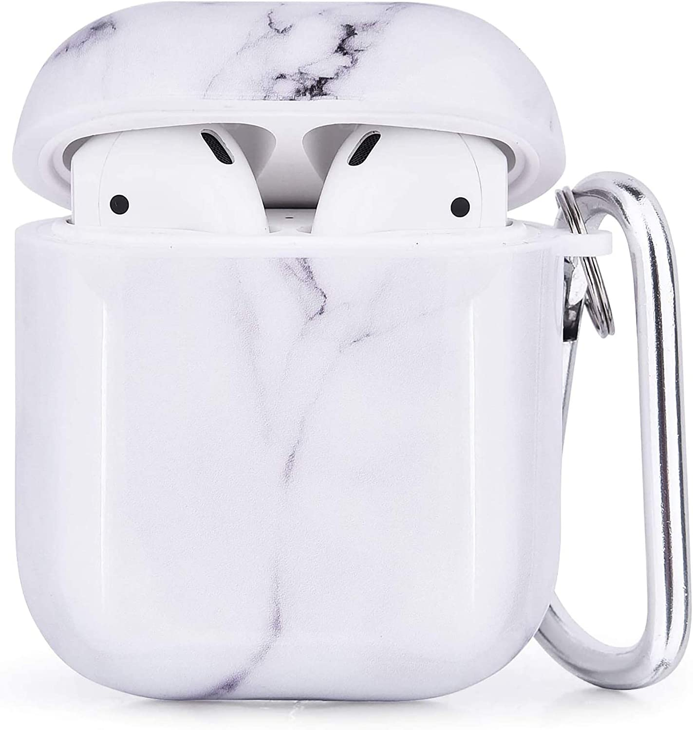 CAGOS Compatible with Airpods Case, 3 in 1 Cute Marble Accessories Protective Hard Case Cover Portable & Shockproof Women Girls Men with Keychain/Strap/Earhooks for Airpods 2/1 Charging Case - White